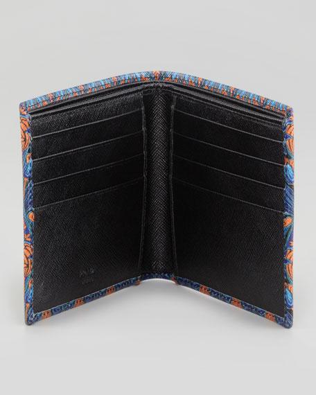 Saffiano Printed Billfold Wallet, Orange/Blue