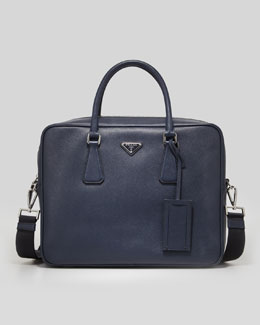 Saffiano Logo Briefcase with Shoulder Strap, Navy