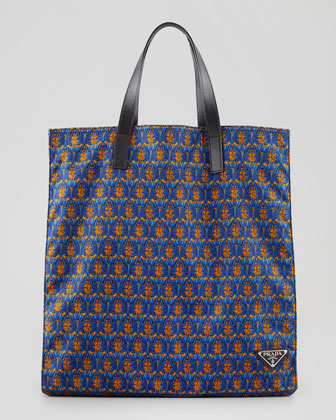 Men's Printed Tessuto Tote Bag, Orange/Blue