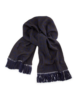 Men's Wool Reverse-Skull Scarf, Gray/Blue