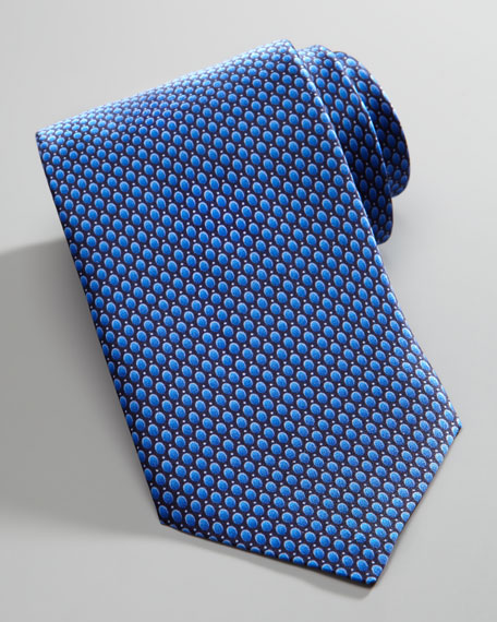 Bubble-Dot Silk Tie, Blue