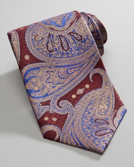 Paisley Silk Tie, Maroon/Gold