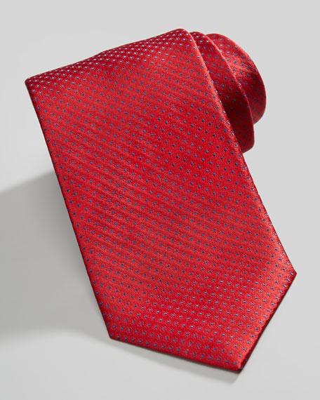 Micro-Dot Neat Silk Tie, Red