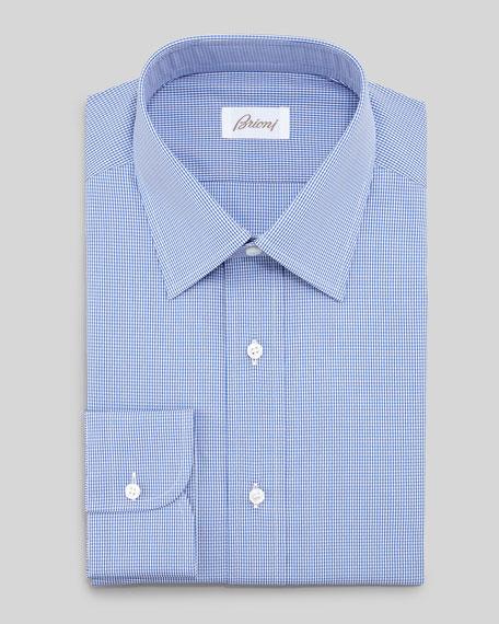 Micro-Check Dress Shirt, Blue