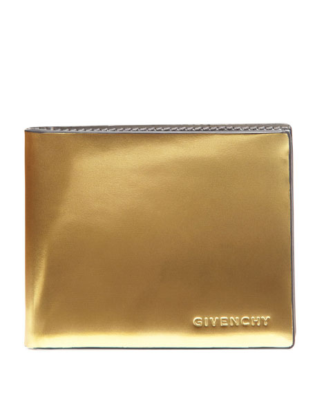 Metallic Bi-Fold Wallet, Silver/Gold