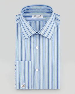 Charvet Small-Plaid Barrel-Cuff Dress Shirt, Blue/White