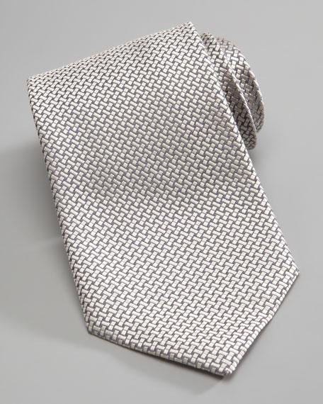 Tonal Woven Silk Tie, Silver