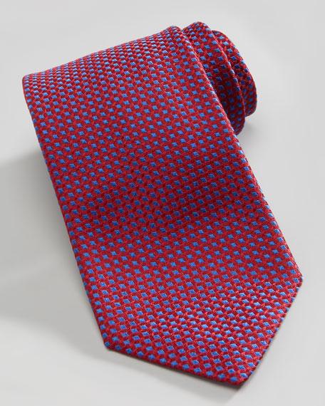 Micro-Diamond Silk Tie, Red/Blue