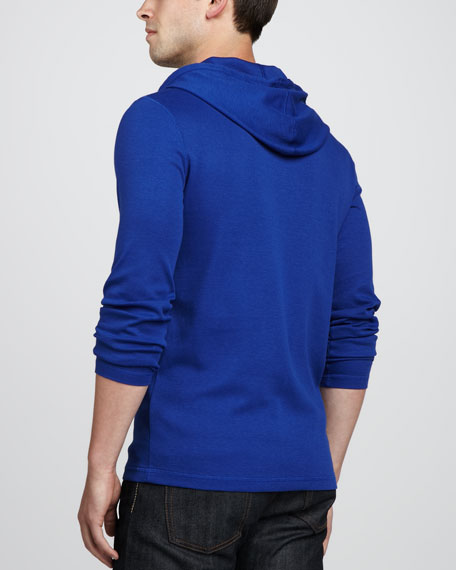 Waffle-Knit Hoodie, Blue