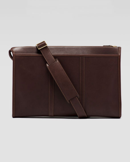 Expediter Leather Briefcase with Retractable Handles, Dark Brown