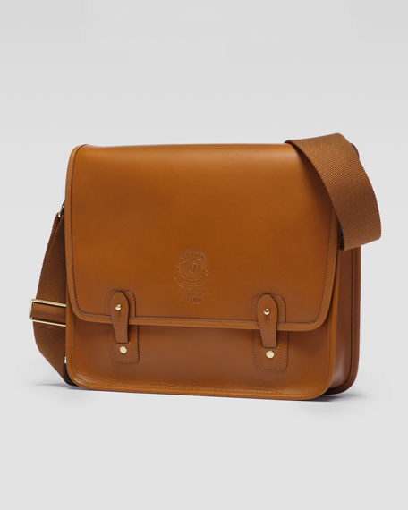 The Office No. 169 Flap Messenger Bag with Web Shoulder Strap, Chestnut