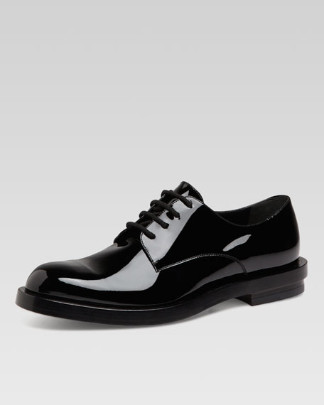 Patent Leather Lace-Up Shoe, Black