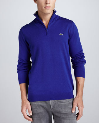 1/4-Zip Tipped Pullover, Luxe Blue