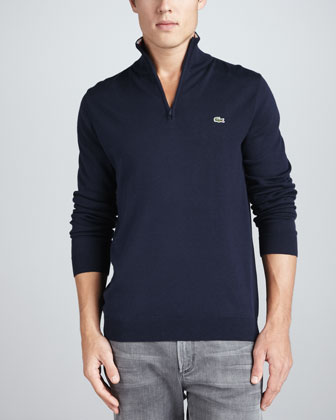 1/4-Zip Tipped Pullover, Navy