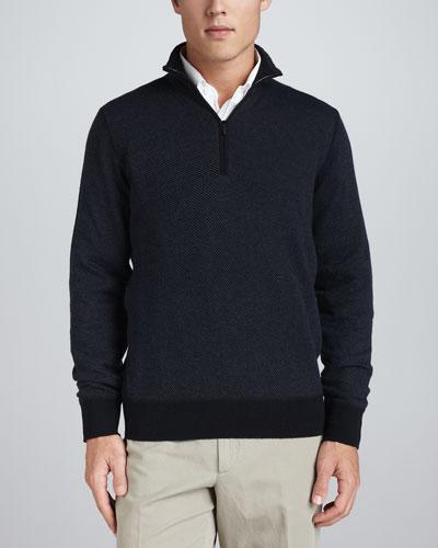 Roadster Half-Zip Cashmere Sweater, Navy