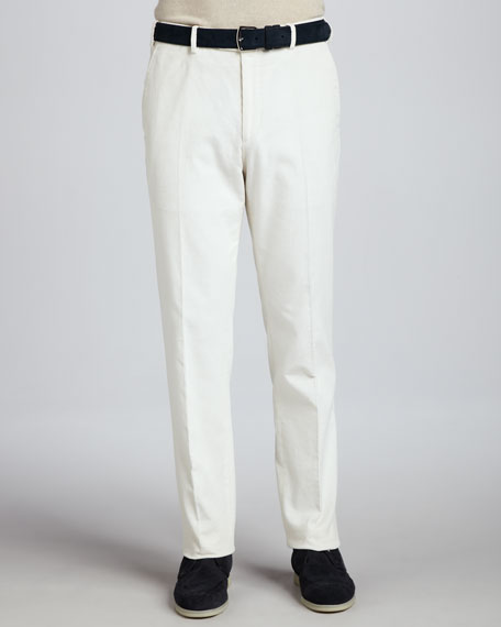 Cotton/Cashmere Corduroy Pants, White