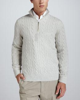 Mezzocollo Cable-Knit Cashmere Pullover Sweater, Silver Natural