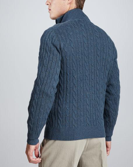 Mezzocollo Cable-Knit Cashmere Pullover Sweater, Gray/Blue