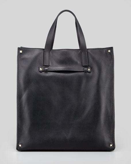Stud-Corner Leather Tote Bag, Black