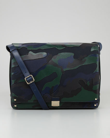 Rockstud Camo Canvas-Leather Messenger Bag, Blue/Green