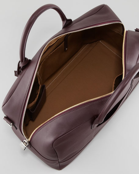 Small Leather Duffel Bag, Bordeaux