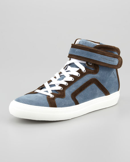 Two-Tone Suede High-Top, Blue/Brown