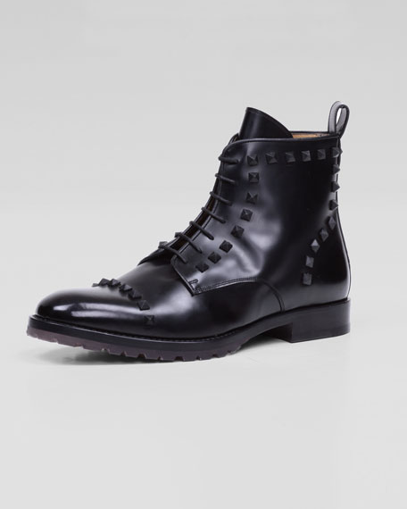 Rockstud Lace-Up Boot, Black