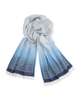 Salvatore Ferragamo Men's Ombre Gancini Scarf, Light Blue