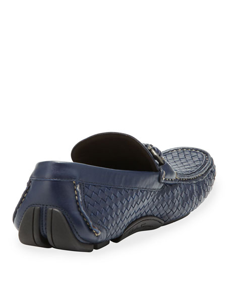 Woven Leather Driver, Navy
