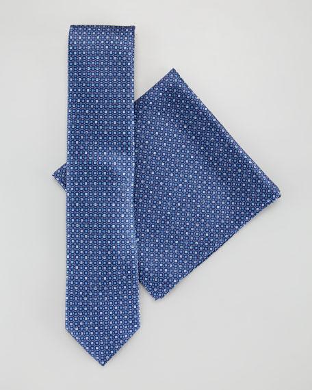 Micro-Bubble Medallion Silk Tie & Pocket Square Set, Blue