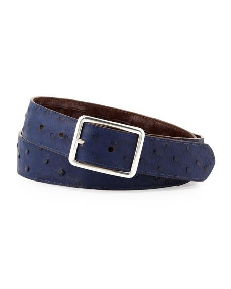 Ostrich/Croc Reversible Belt, Navy/Brown