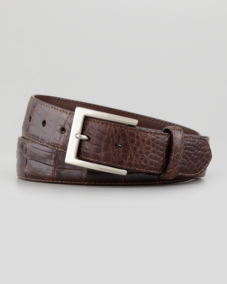 Glazed Alligator Belt, Brown