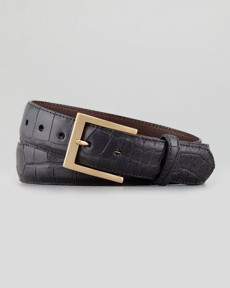 Matte Alligator Belt, Black