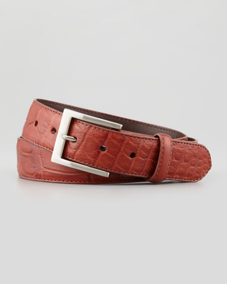 Matte Alligator Belt, Tan