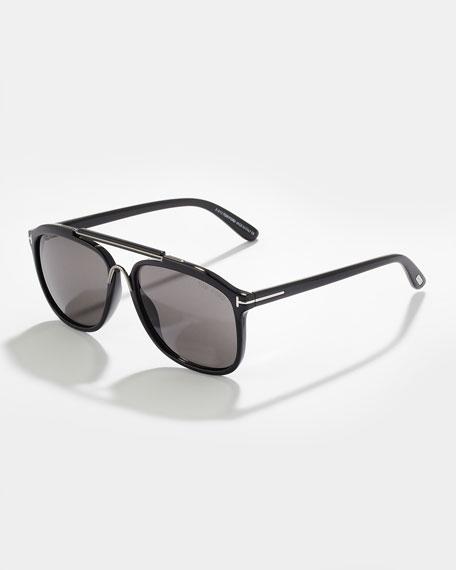 Cade Plastic Aviator Sunglasses, Black