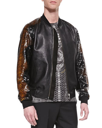 Leather/Python Bomber Jacket, Black