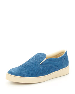 Bottega Veneta Woven Slip-On Shoe, Blue