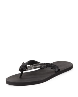 Bottega Veneta Men's Crocodile Thong Sandal, Black