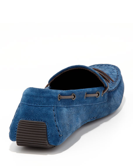Suede Woven-Front Driver, Blue