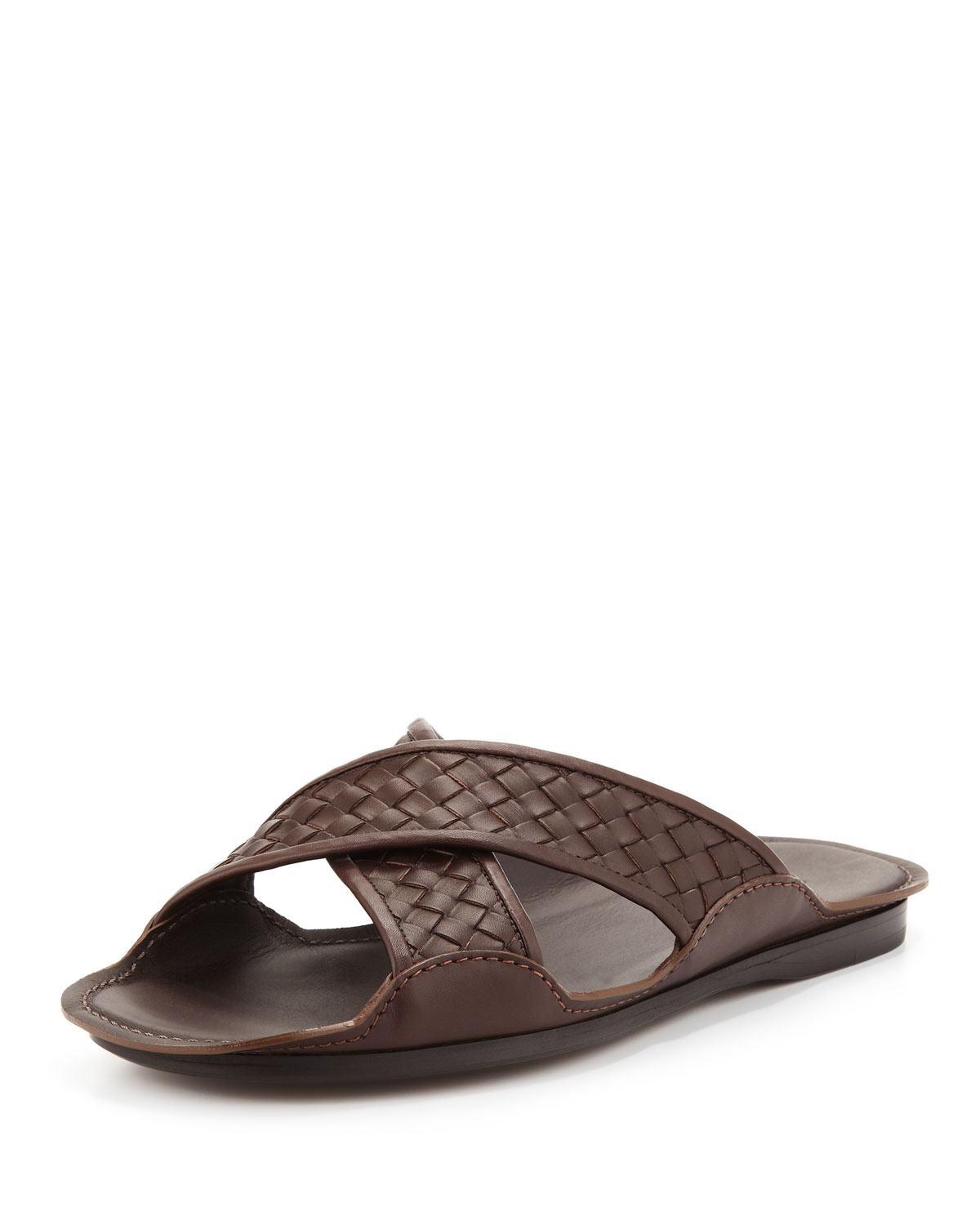 Bottega Veneta Cross-Woven Sandal, Brown