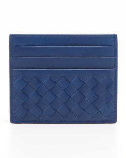 Bottega Veneta Flat Woven Card Case, Blue
