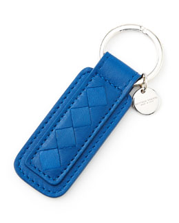 Bottega Veneta Intrecciato Leather Tab Key Chain, Blue