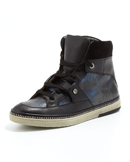 Jimmy Choo Barlowe Snake-Print High-Top Sneaker, Blue Mix