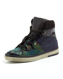 Jimmy Choo Barlowe Glitter & Patent High-Top Sneaker, Purple Mix