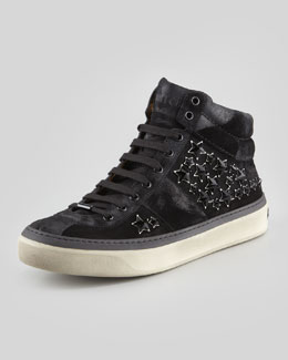Jimmy Choo Belgravia Star-Studded High-Top, Black