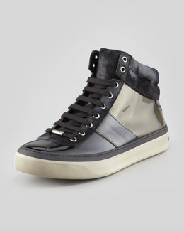 Jimmy Choo Belgravi Men's Ombre Patent Leather High-Top Sneaker, Olive