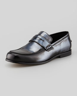 Jimmy Choo Men's Darblay Mirror-Leather Penny Loafer, Silver