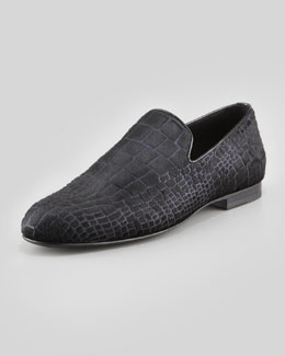 Jimmy Choo Sloane Croc-Print Calf Hair Slipper,