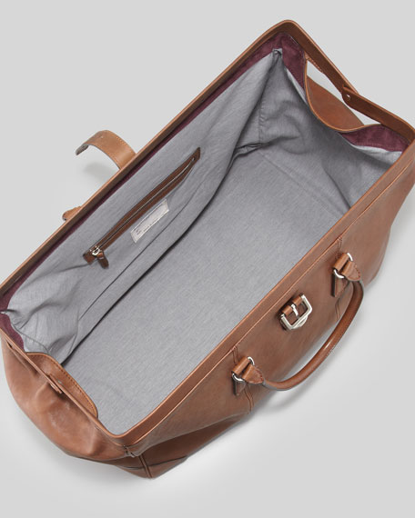 Large Leather Duffel/Doctor Bag, Cognac