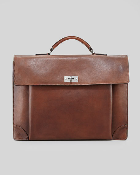 Leather Portfolio Briefcase, Cognac